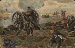 Soldiers Near Cannon on Battlefield