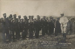 1912 Russia, Bulgaria? Uniformed Soldiers with Bayonets Near Officer in White