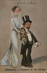 Caricatures: Tall Bride Standing Behind Short Groom