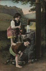 Two Children Posed Near Well with Running Water
