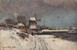 Snow-Covered Countryside with Windmill Near Water