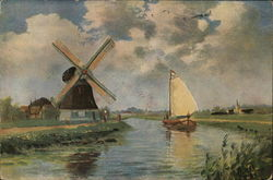 Windmill Near Water and Sailboat
