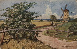 Rural Road Leading to Windmill, Man Pushing Cart in Distance