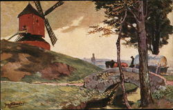 Windmill on Hill, Horse-Drawn Wagon Approaching