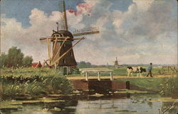 Windmill Near Water, Man Walking with Cow