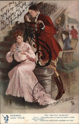 Man Leaning Against Railing Above Seated Woman