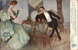 Man in Suit Seated Near Woman in Green Gown