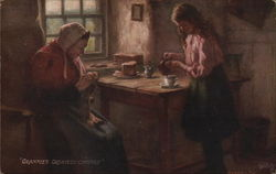 Older Woman Knitting, Girl Pouring Cup of Tea