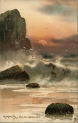 Large Waves Near Rocks Against Colorful Sky