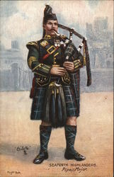 Bagpipe Player Wearing Kilt and Hat