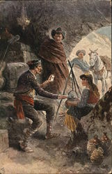 Gypsies in Cave with Two Men, One Holding a Card