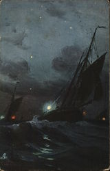 Ships with Sails in Wavy Water at Night