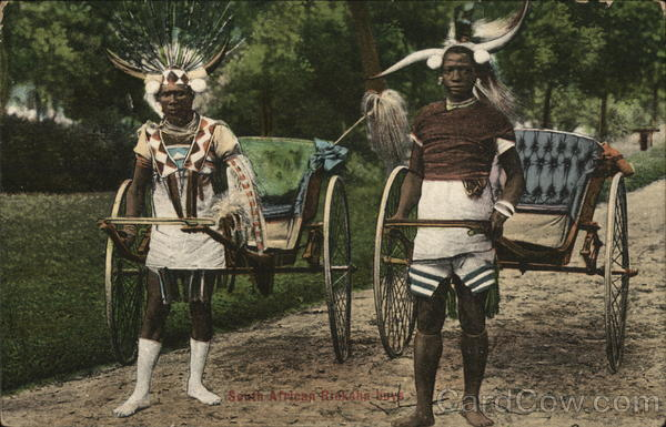 African men pulling carriages Transvaal South Africa