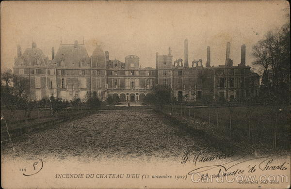 Fire at the Château d'Eu in Normandy France