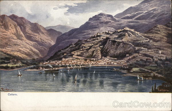 View of Town and Coast Kotor Montenegro Eastern Europe