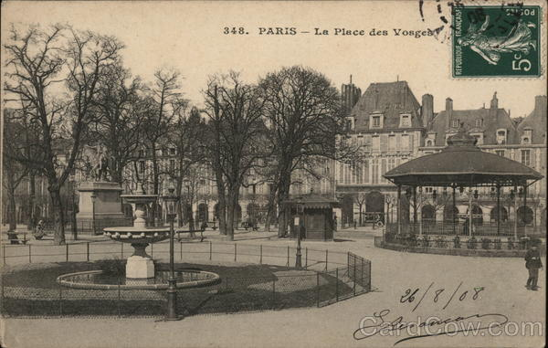La Place des Vosges Paris France Cancelled on Front (COF)