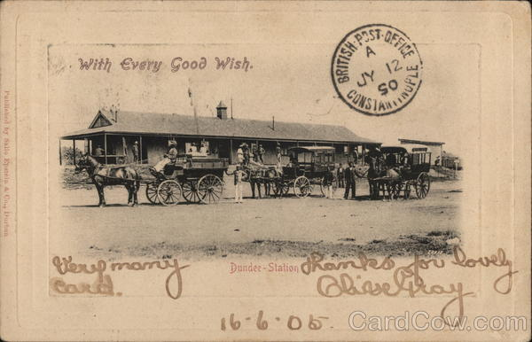 Railway Station Dundee South Africa Cancelled on Front (COF)