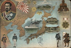 Map of Japan and East Asia, Manchuria Postcard