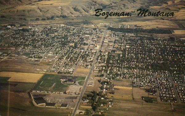Aerial View of City Bozeman Montana