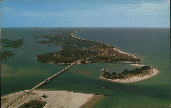 Aerial View Looking South across New Bridge to Longboat Key Anna Maria Island Florida