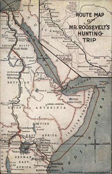 Route Map of Teddy Roosevelt's Hunting Trip Africa