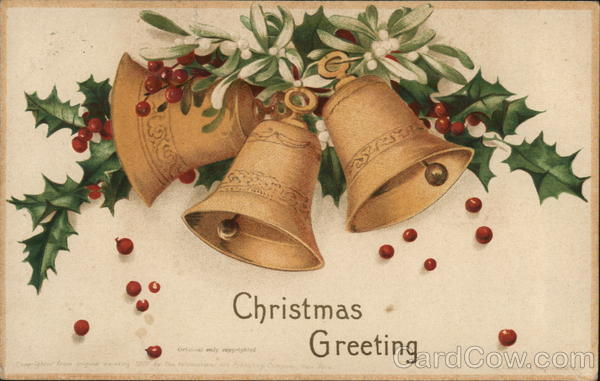 Bells and Holly, Christmas Greeting