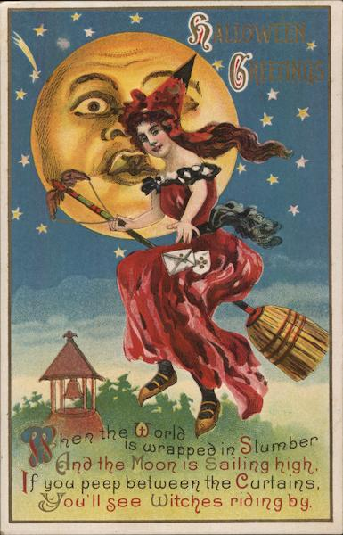 Witch Riding Broomstick Past Animated Moon, Halloween Greetings