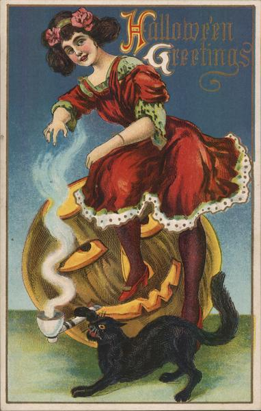 Woman Sitting on Pipe Smoking Jack-o-Lantern, Black Cat, Halloween Greetings