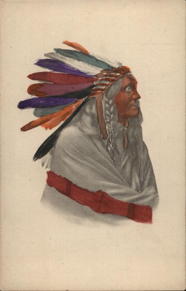 Indian Native in Headdress Hand Colored Native Americana
