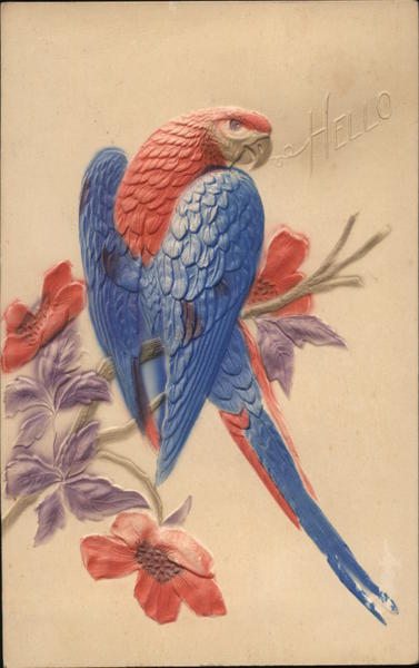 A Red and Blue Parrot on Branch With Purple and Red Flowers