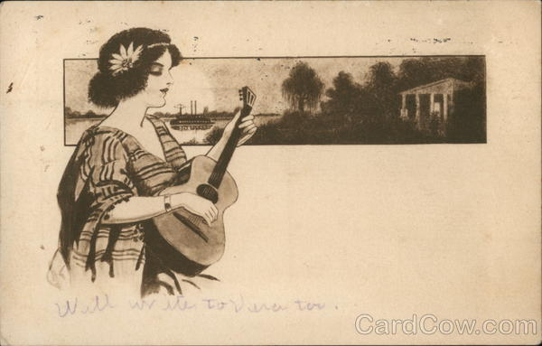 Woman With Flower in Hair Playing Guitar Women