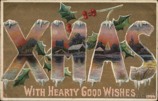 XMAS With Hearty Good Wishes Christmas