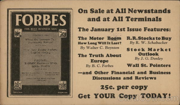 Forbes, 25c Per Copy Advertising