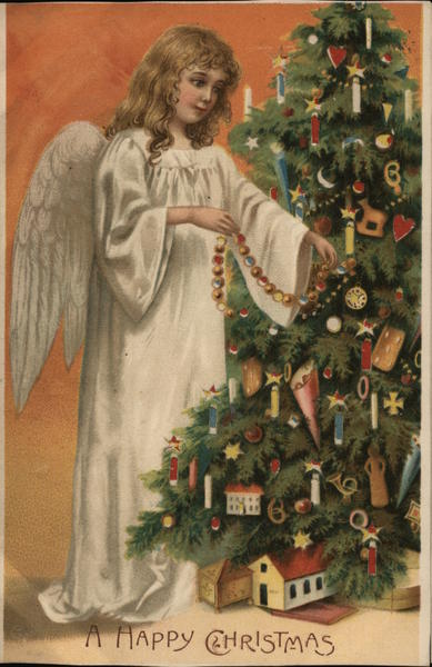 A Happy Christmas Angels Hold To Light