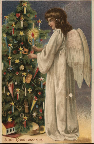A Glad Christmas-Time Angels Hold To Light