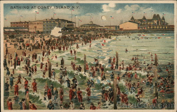 Bathing At Coney Island, N.Y. Amusement Parks Hold To Light