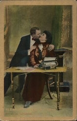 Couple Kissing at Desk with Typewriter