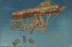 A Happy New Year - Cupid in Airship Dropping Money