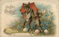 Two Rabbits Dance Among Blue Flowers And Eggs