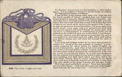 The White, Purple and Gold - Text for Presentation of White Leather Apron