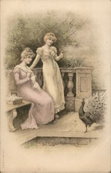 Two Ladies In Long Gowns Gaze At A Peacock