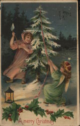 A Merry Christmas - A Pair of angels chopping down a tree