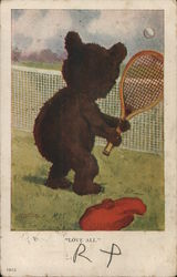 "Teddy Bear Playing Tennis ""Love All"""
