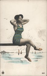 Woman in a Striped Swimsuit
