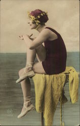 Art Deco Woman in Swimsuit Sitting by Shore