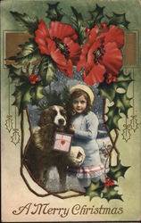 A little girl with her dog holding present in mouth in a frame of holly.