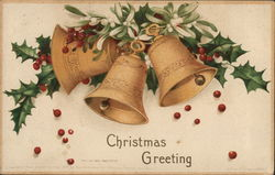 Bells and Holly, Christmas Greeting Postcard