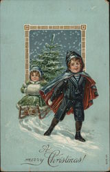Boy Pulling Girl on Sled, A Merry Christmas