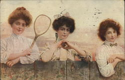 Three Ladies and a Tennis Racket