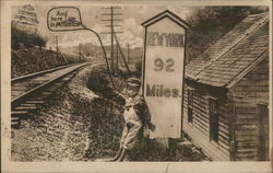 Little Boy Leans Against Sign Showing Distance To New York